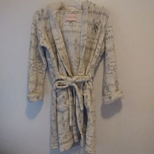 Victoria's Secret Robe Hooded White Grey Sz S